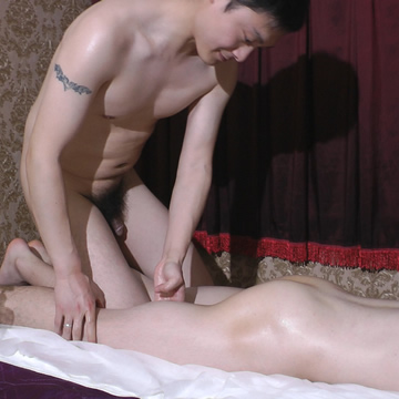 Asian masseuse strokes naked man video